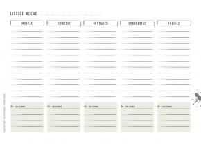 die einfache Liste Montag bis Freitag